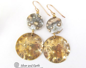 Ocean Jasper Earrings, Brass Earrings, Handmade Metalwork Jewelry, Natural Stone Earrings, Gold & Green Dangle Earrings, Jewelry with Stones