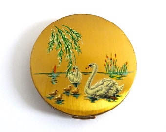 Mid Century Compact, 1950s Retro, Hand-painted Swan Design