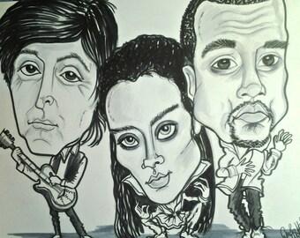 Paul Rhianna Kanye Rock Portrait Rock and Roll Caricature Music Art by Leslie Mehl Art