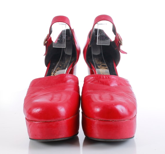 in 70's Made Sandals Platform Heel Disco Red Jane Size 7 Women's Shoes 5