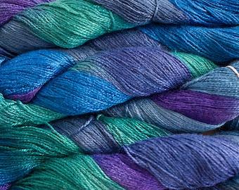 Fine Bamboo, Hand Painted yarn, 300yds - Iris