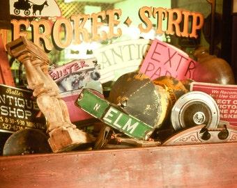 Fine Art Photography, Twister Museum, movie memorabilia, signs, hubcaps, banisters, primitive, rustic, junk, whimsical, Fine Art Print