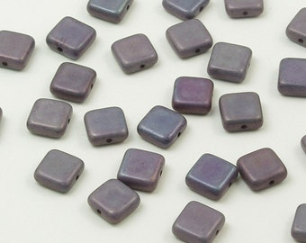Opaque Purple Luster Flat Square Czech Glass Tile Beads 9mm - 25