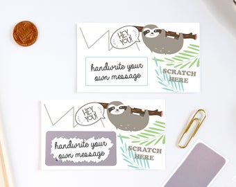 10 DIY Sloth Scratch Off Cards - Classroom Prize - Teacher notes - Lunchbox notes