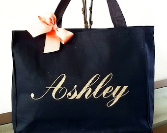 Personalized Tote Bag Bridesmaid Gift Fl Monogram Wedding Day Bride