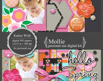 Spring Digital Scrapbooking Kit  Instant Download Mollie for scrapbooking
