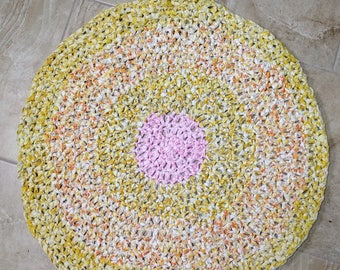 """Round Crochet Rag Rug  """"Here Comes the Sun"""""""
