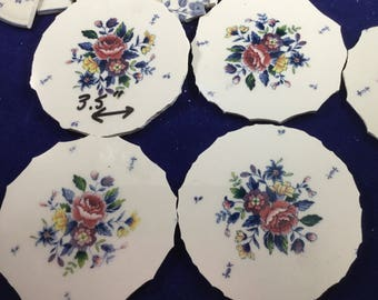 100 Blue Floral Broken China Mosaic Tiles With 4 Focals