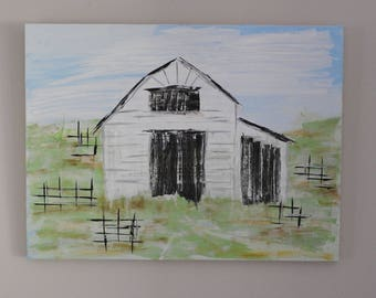 White Barn with a hay loft - large acrylic on Canvas 24 x 18