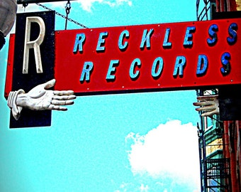 Chicago Photo, Wicker Park, Chicago Photography, RECKLESS RECORDS, indie record store, Chicago art print, vinyl, aqua, red, rock, music, men