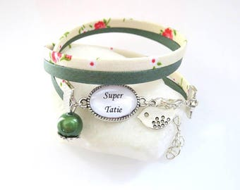 """great Auntie"" liberty bracelet, green and ivory, gift for her Auntie"