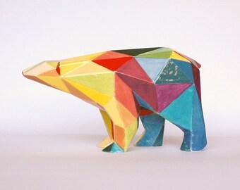 Orso poligonale in ceramica colorato a mano serie limitata e firmata