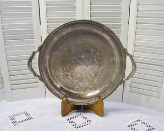 Vintage Round Silver Plate Tray Large Tarnished Unpolished Serving Platter Bar Display Wedding PanchosPorch