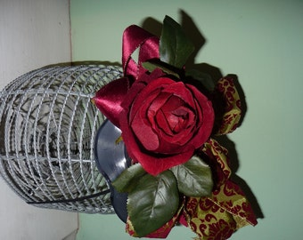 Dark Red Rose Fascinator Headpiece