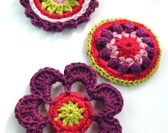 Crochet Applique Embellishments Buttons