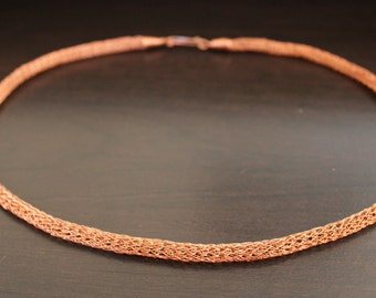 "Handmade Copper Viking Knit Necklace 21"" Artisan S-Catch Closure"