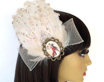 Ivory Fascinator, Feather Fascinator, Bridal Fascinator, Great Gatsby, Art Deco Fascinator