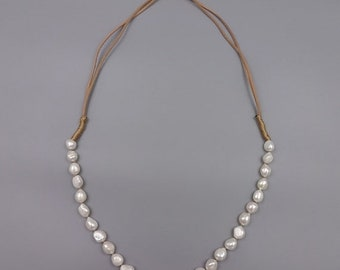MOTHERSDAY20%OFF Fresh Water Pearl and Leather Long Necklace