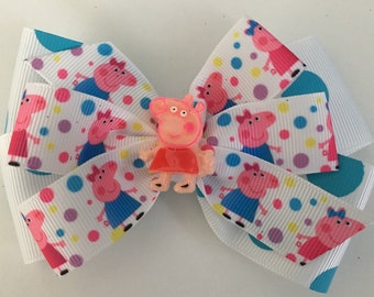 Peppea Pig Hair Bow Peppa Pig Bow Pink and Turquoise Peppa Pig Bow Turquise Polka Dot Bow Turquoise Peppa Pig Bow Pink and Blue Peppa Bow