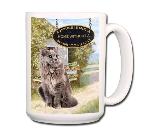 Maine Coon Cat a House is Not a Home Large 15 oz Coffee Mug No 5