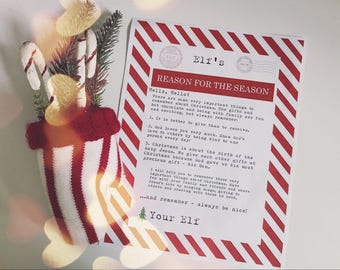 Christmas Elf Reason for the Season Christian Religious Printable - Vintage Typewriter Style - INSTANT Downloadable Printable PDF!