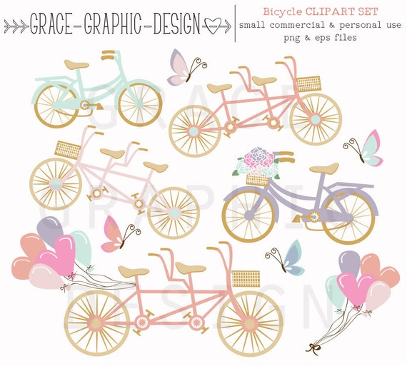 Clipart Bike Tandem Store Pink Balloon Butterfly Commercial Use From
