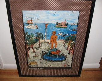 """LISELOTTE HOHS Framed Print 1968 With Fabric Matt 24"""" X 30"""" This Is A Print Or Art Poster Black Wooden Frame Covered In Glass"""