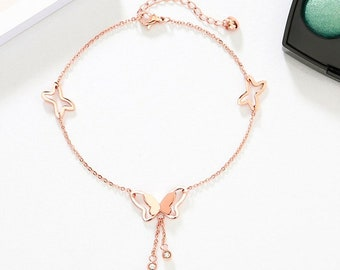 Rose gold butterfly anklet, rose gold plated anklet, women anklet, beach anklet, girl anklet, foot ankle bracelet, foot jewelry