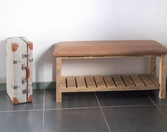 Bench, bench, reclaimed wood bench, bench top Brown Leather Wood, bench for entry, storage bench, shoe storage