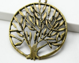 10Pcs Antique Brass tree Charm tree Pendant 37mm (PND271)