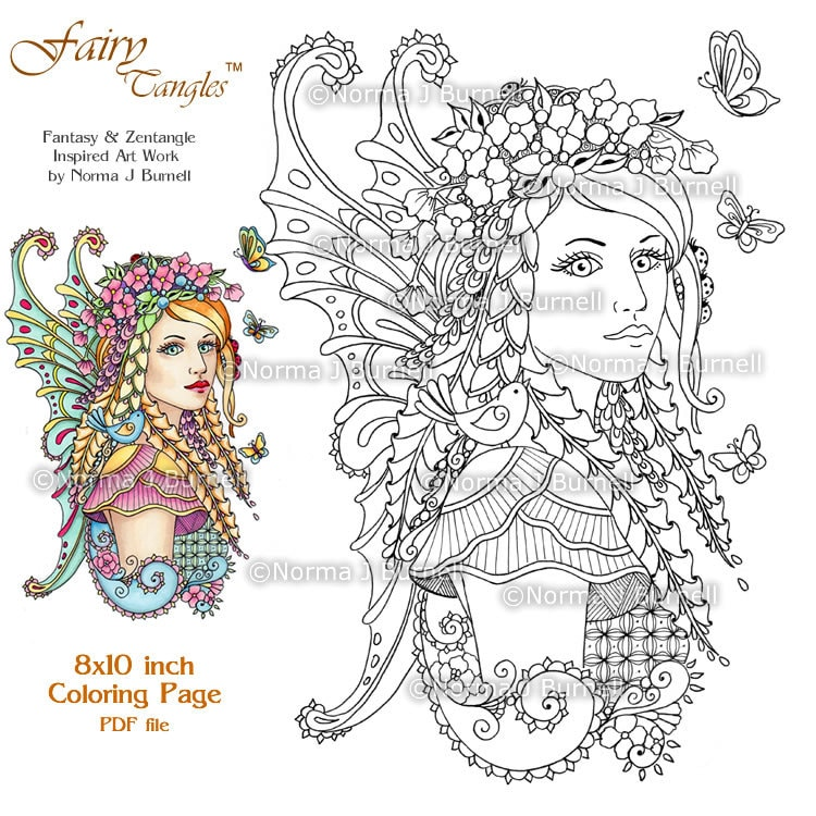 Guardian Of The Meadow Fairy Tangles Printable Coloring Book