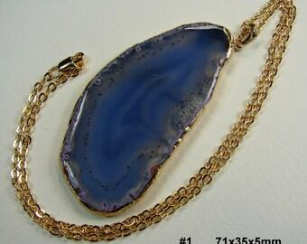 VERKAUF. Natürlicher Achat Scheibe Halskette 24K vergoldet Goldschnitt 24K Gold geflochtene Kette mit konkaver Druzy Stein, Geode Halskette (Lot 028)