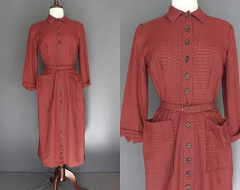 50's Day Dress     50's Red Plaid Button Up Shirtwaist Day Dress