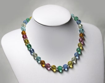 Sparkly Rainbow VINTAGE Colourful Crystal Glass Bead Necklace