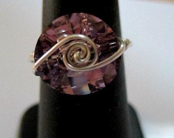 Swarovski Crystal Silver Swirl Ring - three colors, one item