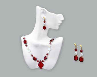 Red crystal Elven Princess Necklace with Earrings