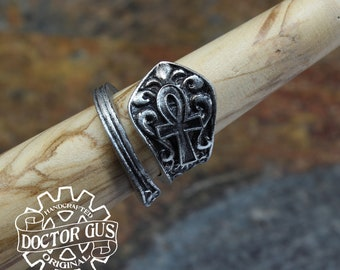 Ankh Ring - Adjustable - Wrap Style - Handcrafted by Doctor Gus - Beautiful Antique Inspired Ring - Egyptian Ring