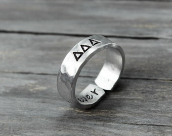 Delta Delta Delta Ring, Hammered Sorority Ring, personalized jewelry, hand stamped ring, handstamped jewelry, Sorority Jewelry