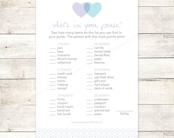 bridal shower game what's in your purse printable DIY lavender purple blue hearts wedding shower digital games - INSTANT DOWNLOAD