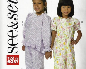 Butterick Patterns #B6401~Pajama  Zip-Front Top and Jumpsuit, and Pull-On Pants Toddler and Child Sz 1-4  Uncut FactoryFold