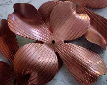 4pc Very Vintage 75mm 3 Inch Dogwood Flower Leaf Petal Large Cross Shape Focal Jewelry Finding Copper Plated Steel Metal Mixed Media FB1a