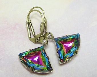 Art Deco Earrings Art Deco Jewelry Vitrail Glass Jewels Rainbow Iridescent Earrings