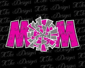 Cheer Mom - Pom Pom Mom - SVG Design Download - Vector Cut File