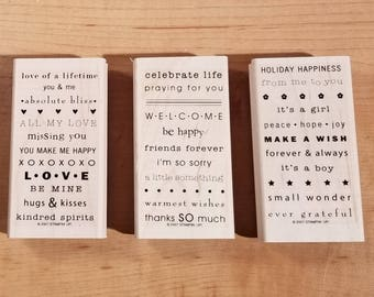 Stampin' Up Retired Set - 2007 So Many Sayings - Rubber Stamp Set of 3 - RS-039
