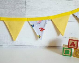 Boy nursery bunting, blue mini bunting, blue nursery bunting, yellow nursery bunting, playroom bunting, transport bunting, vehicle bunting