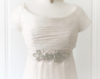 Claudia Crystal Lace Bridal Sash - Wedding Dress Belt - Bridal Gown Sash - Wedding Accessories