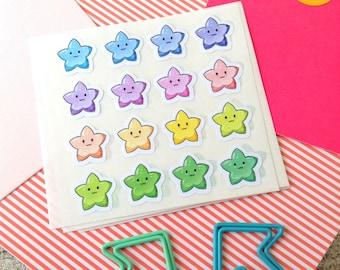 Kawaii stars, Planner Stickers, Erin Condren, Happy planner, Color crush, Kawaii stickers, star stickers, Rainbow stars, Planner star #1001