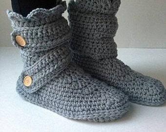 Crocheted Winter Slipper Boots