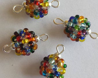 4 beads seed connectors (2.5 mm) multicolored lined silver
