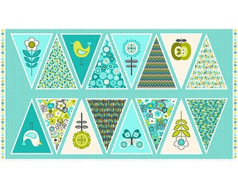 """PANEL - Lime Twist by The Henley Studios for Makower uk, Pattern  #1420/1 Bunting Panel, 24"""" X 44"""", 16 Different Triangle Flags"""